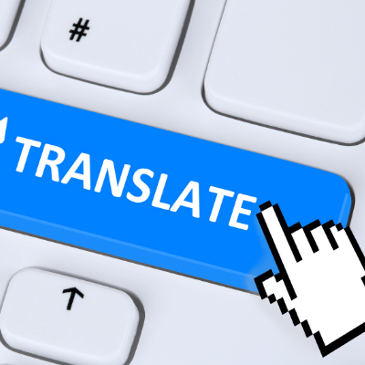"""Error 404, significat no trobat! inlingua Andorra blogpost - keyboard key with mouse hovering over a blue button that says """"TRANSLATE"""""""