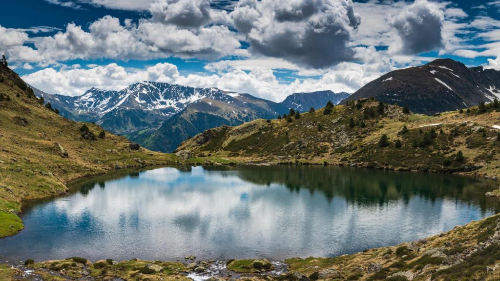 Andorra la vella inlingua Andorra lake, mountains and sky with clouds