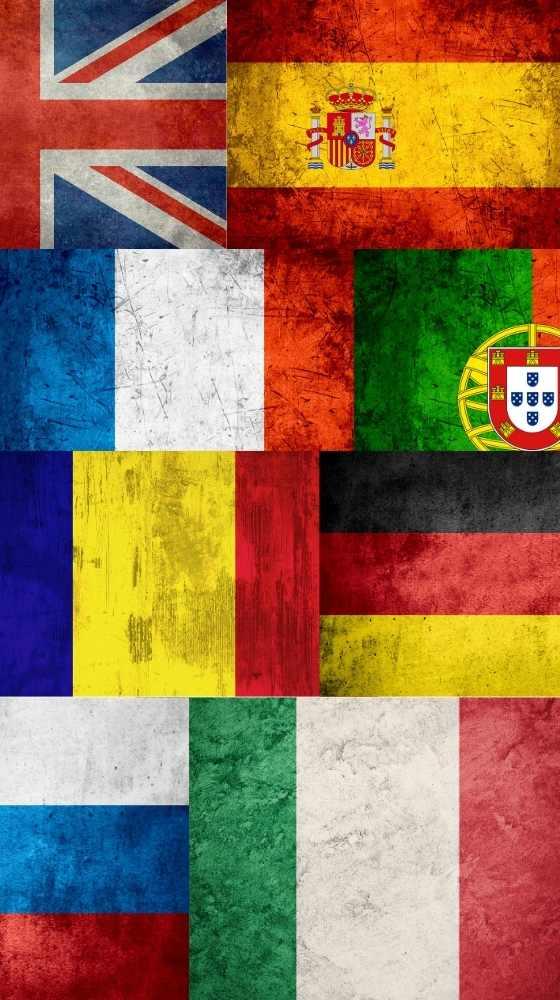 Multiple flags, spanish, german, frecnch, english, portuguese, catalan, russian inlingua Andorra