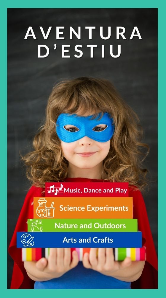 Young girl with superhero mask inlingua kids summer camp